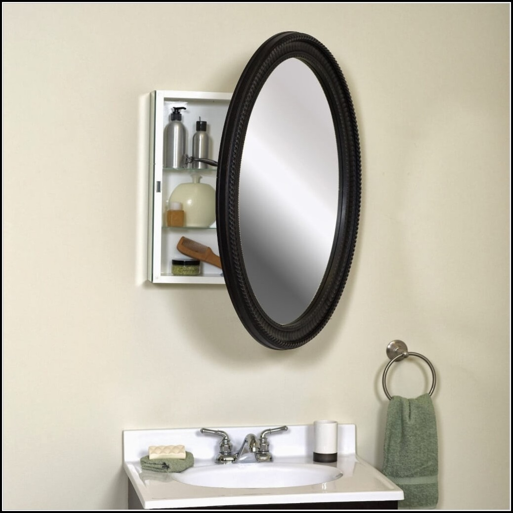 Black Oval Bathroom Mirror