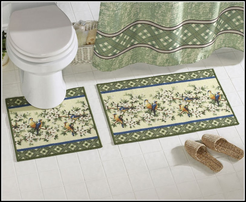 Floral Bathroom Rug Sets