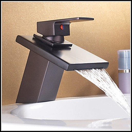 Waterfall Bathroom Sink Faucet Bronze