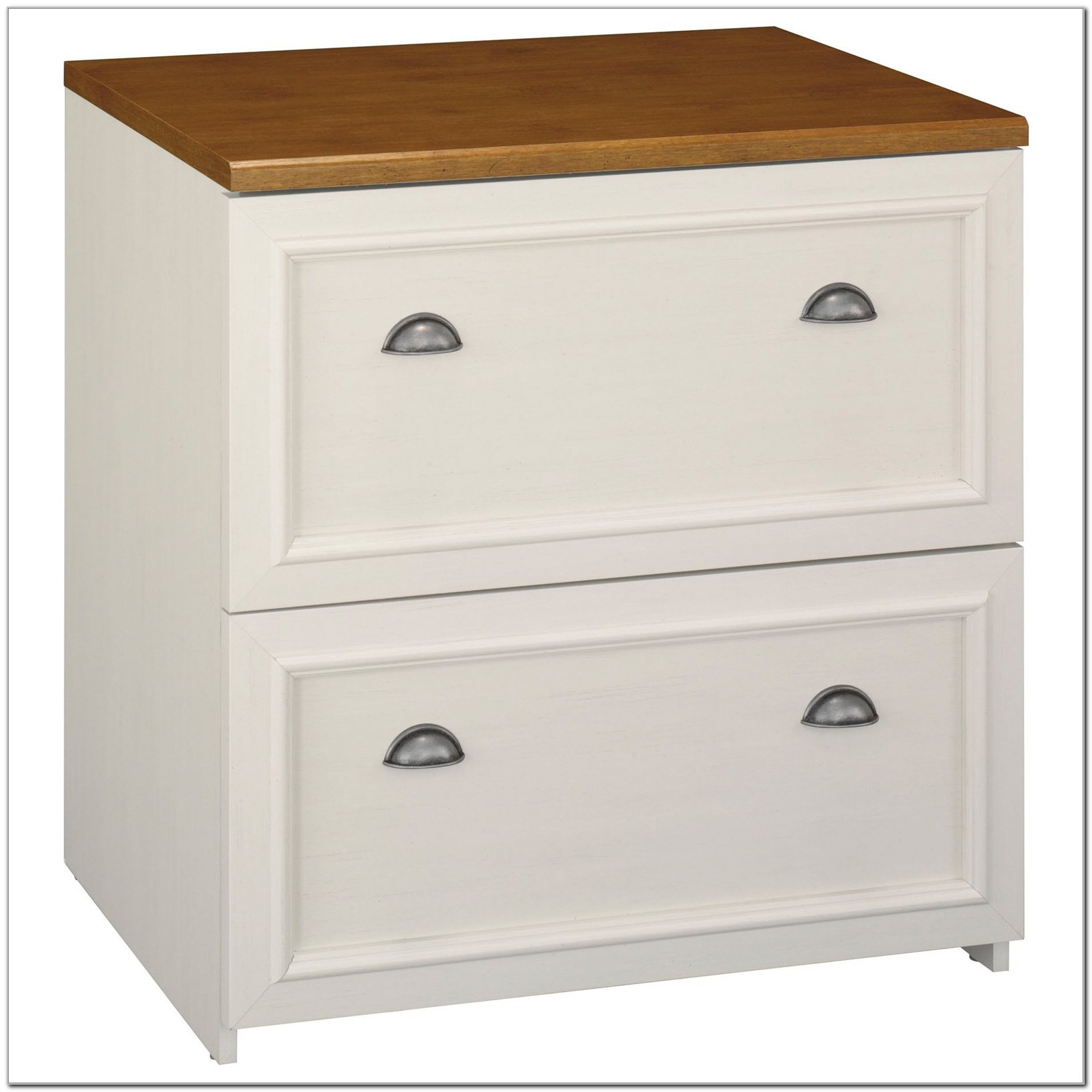 2 Drawer White Wood Lateral File Cabinet