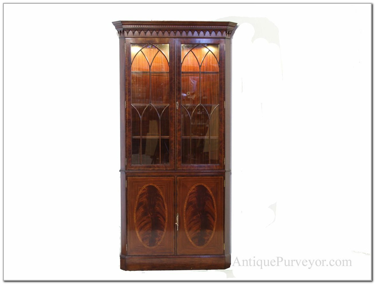 Antique Mahogany Corner China Cabinet