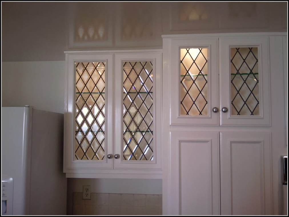 Beveled Leaded Glass Cabinet Doors