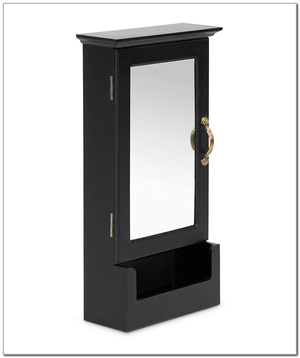 Black Mirrored Wall Cabinet