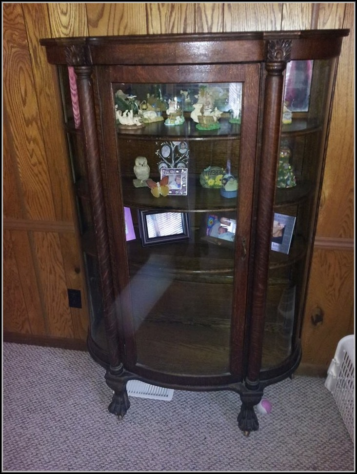 Curved Glass Curio Cabinet Antique