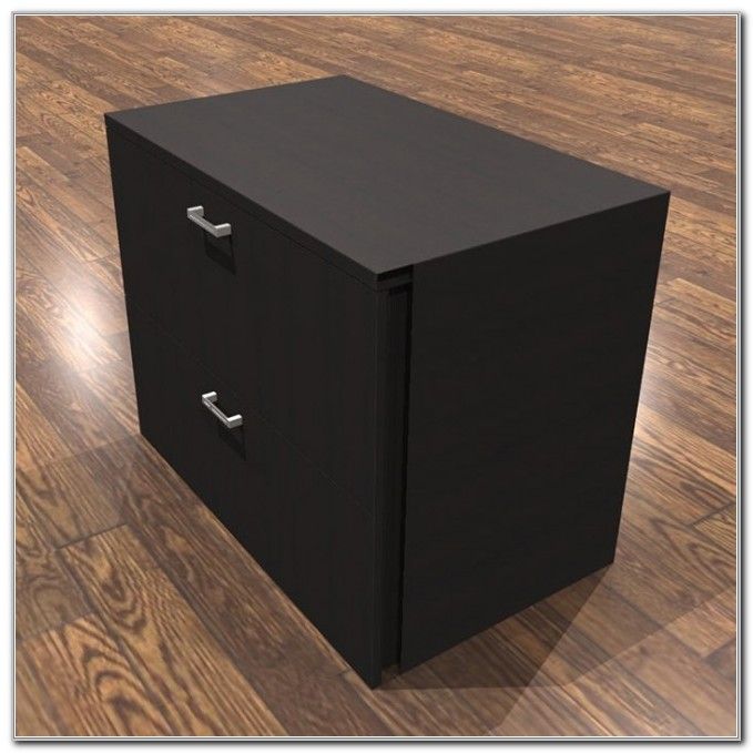 Lateral File Cabinet 2 Drawer Black