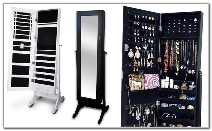 Standing Jewelry Cabinet With Mirror