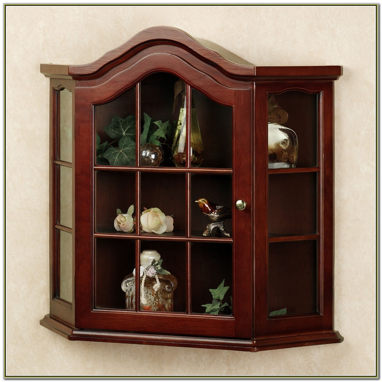 Wall Curio Cabinet Glass Doors