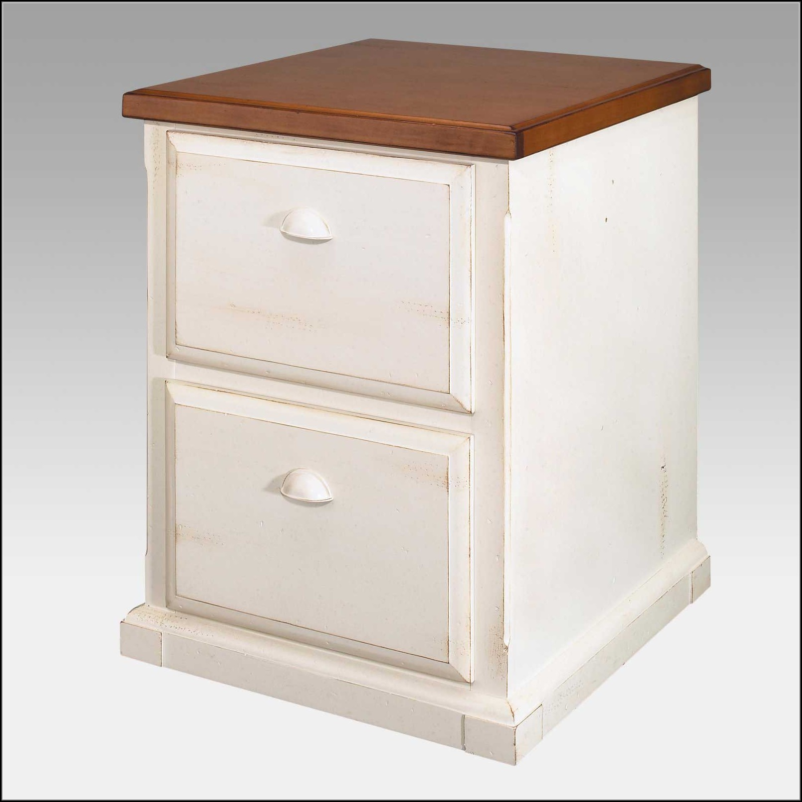 White Wooden 2 Drawer File Cabinet