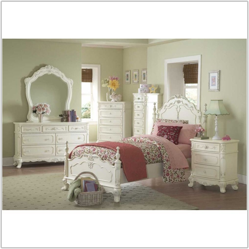 White Twin Canopy Bedroom Set