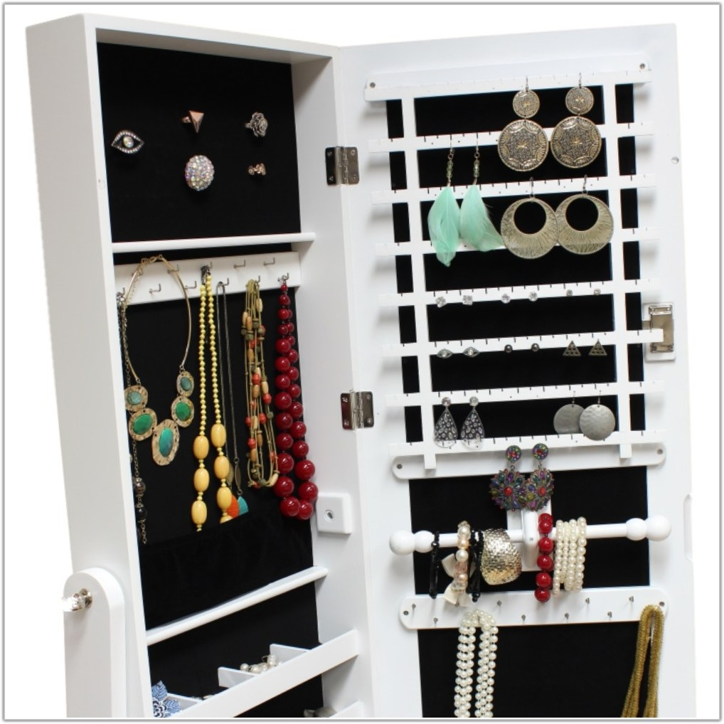 Full Length Mirror Jewelry Cabinet Black