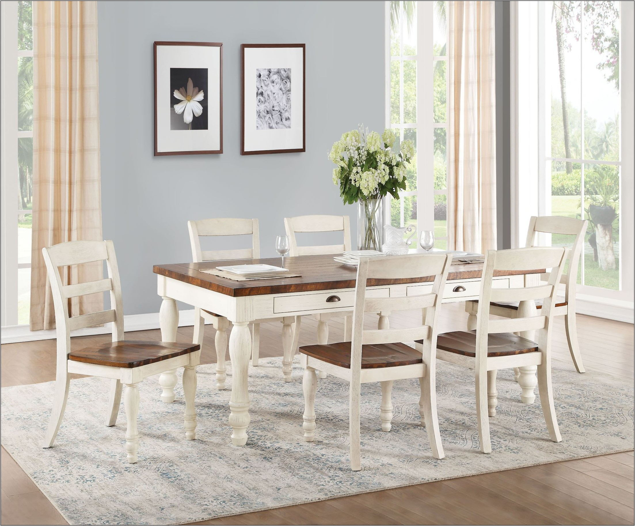 White Washed Dining Room Set